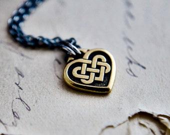 Celtic Heart Necklace, Celtic Knot, Celtic Pendant, Heart Charm, Gold Heart, Silver Necklace, Valentines Gift