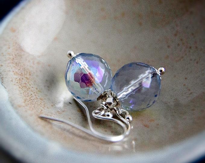 Glass Earrings, Drop Earrings, Czech Glass, Fairy Earrings, Iridescent, Rainbow, Glass Jewelry, Sterling Silver, PoleStar, Pastel Blue