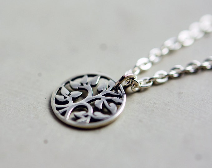 Circle Tree Pendant Necklace, Sterling Silver Tree Cut Out Circle Necklace