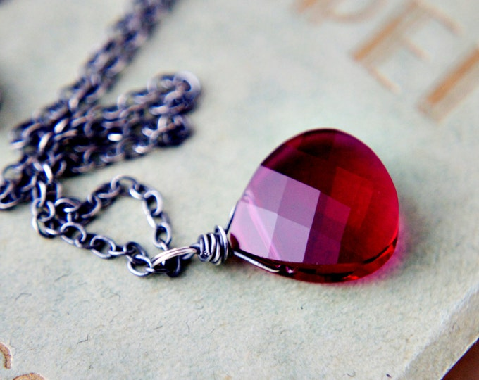 Ruby Necklace, Crystal Necklace, Ruby Crystal, Crystal Pendant, Red Crystal, Swarovski Crystal, Sterling Silver, July Birthstone, Ruby Red