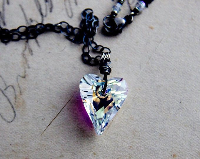 Swarovski Crystal Heart Necklace, Rainbow Heart Necklace