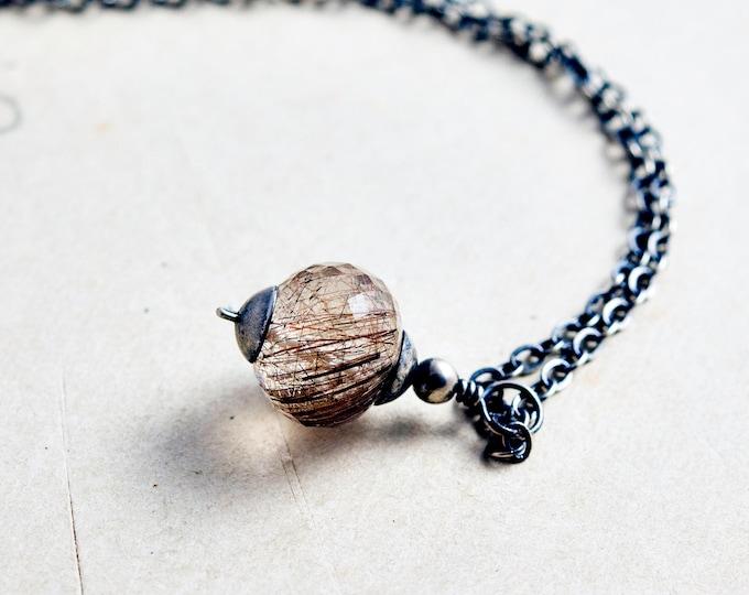 Rutilated Quartz, Quartz Necklace, Rutilated Copper, Rust, Quartz Pendant, Gemstone Pendant, Gemstone Necklace, Sterling Silver, PoleStar