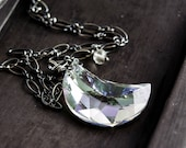 Crescent Moon Necklace, Moon Pendant, Sterling Silver, Crystal Necklace, Crystal Jewelry,