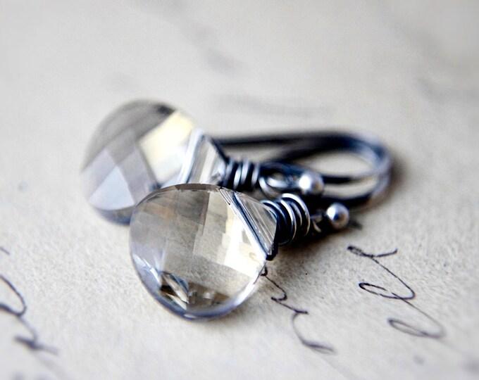 Swarovski Crystal Drop Earrings, Taupe Crystal Dangle Earrings