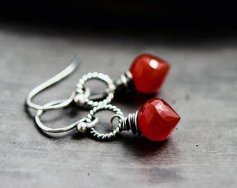 Red Chalcedony Earrings, Drop Earrings, Dangle Earrings, Blood, Halloween, Crystal Earrings
