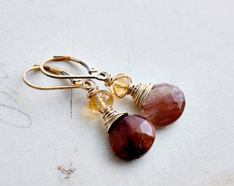 Rutilated Quartz Earrings, Gold Earrings, Citrine Earrings Gemstone Jewelry, Gold, Dangle Earrings, Drop Earrings, Gemstone Earrings,