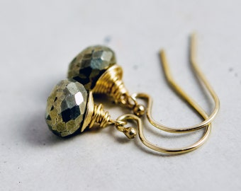 Pyrite Gold Drop Earrings, Golden Metallic Gemstone Dangle Earrings