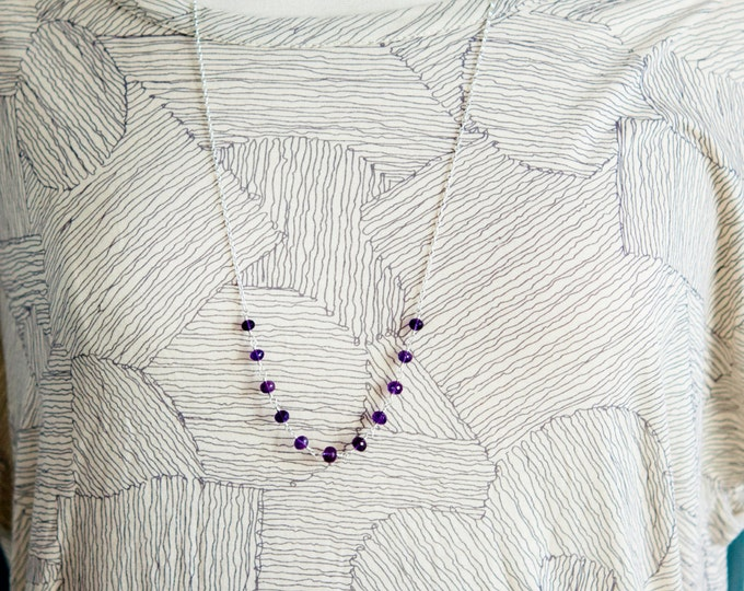 Amethyst Necklace, Amethyst Jewelry, Wire Wrapped, February Birthstone, Purple Gemstone, Sterling Silver, PoleStar, Crystal Necklace,