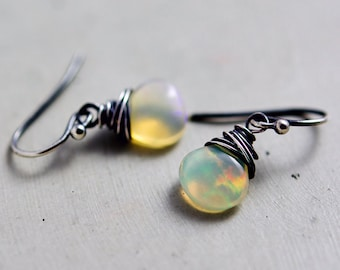 Ethiopian Opal Drop Earrings, Color Play Opal Dangle Earrings on Sterling Silver