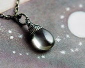Cat's Eye Pendant Necklace, Taupe Gemstone on Sterling Silver