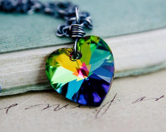 Crystal Pendant, Heart Pendant, Crystal Heart Necklace, Crystal Necklace, Swarovski Crystal, Sterling Silver, Valentine Pendant, PoleStar
