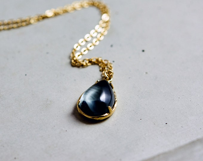 Gray Glass Teardrop Pendant, Gold Necklace, Crystal Necklace,