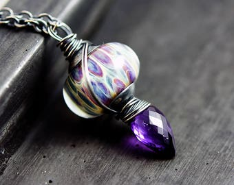 Lampwork Glass and Amethyst Necklace, Lantern Pendant Wire Wrapped on Sterling Silver with February Birthstone