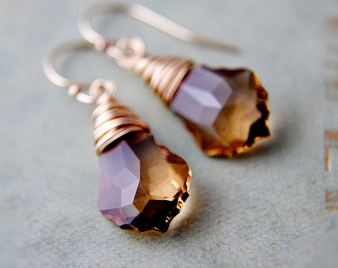 Crystal Earrings, Dangle Earrings, Wire Wrapped, Bronze Crystal, Topaz Crystal, November, 14K gold Filled, Drop Earrings, Swarovski Crystal