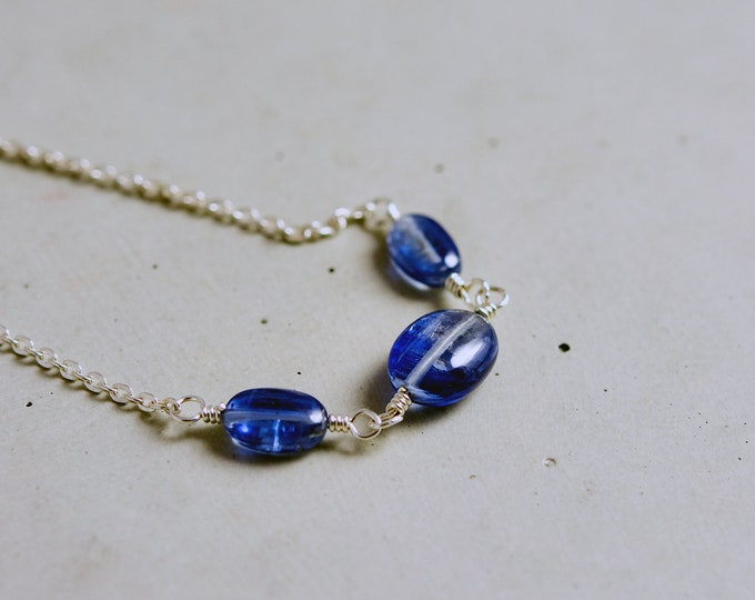 Gemstone Necklace, Kyanite Necklace, Crystal Necklace, Kyanite Jewelry, Denim Blue, Sterling Silver, Perfect Gift