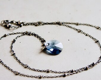 Crystal Necklace, Prism Necklace, Blue Crystal, Crystal Pendant, Swarovski Crystal, Drop Necklace, Sterling Silver