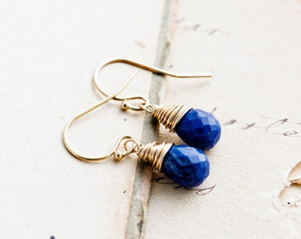 Drop Earrings, Lapis Lazuli Earrings, Lapis Lazuli, Cobalt Blue, Gold Earrings, Dangle Earrings, PoleStar, Wire Wrapped, Gemstone Earrings