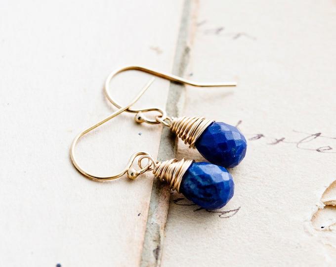 Drop Earrings, Lapis Lazuli Earrings, Lapis Lazuli, Cobalt Blue, Gold Earrings, Dangle Earrings, PoleStar, Wire Wrapped, Gemstone Earrings
