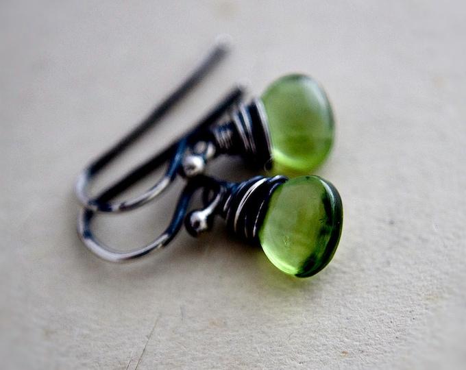 Peridot Drop Earrings, August Birthstone Dangle Earrings, Green Crystal Earrings