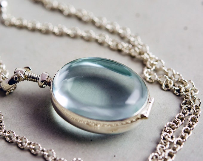 Oval Glass Locket Necklace, Glass Photo and Keepsake Locket on Sterling Silver Chain