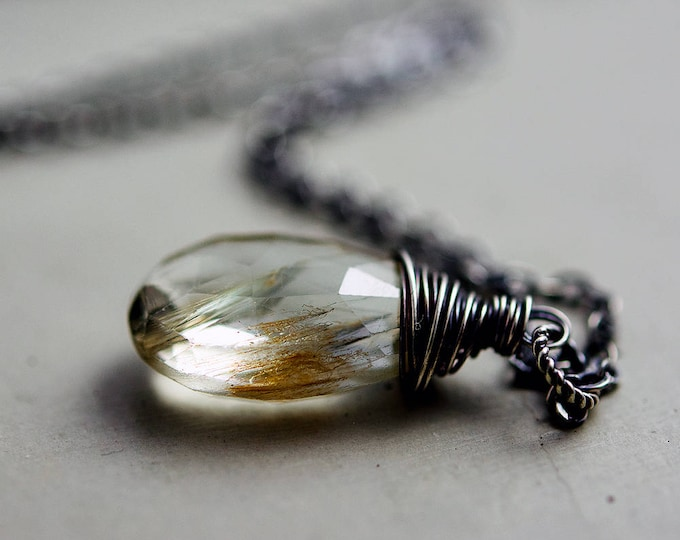 Golden Topaz Necklace, Imperial Topaz Pendant Wire Wrapped on Sterling Silver