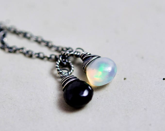 Opal and Onyx Necklace, Black Onyx and Ethiopian Opal on Sterling Silver