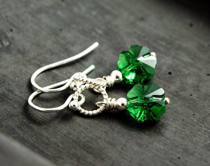 Lucky Shamrock Earrings, Green Clover Dangle Earrings, St Patricks Day Earrings