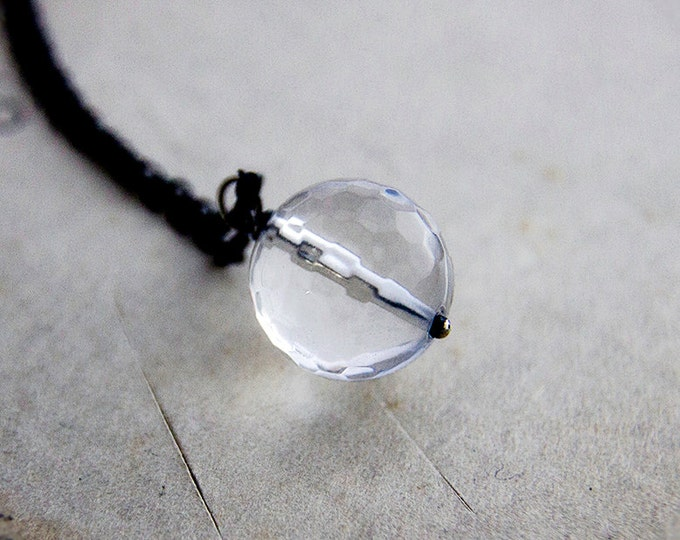 Crystal Ball Necklace, Glass Pendant, Minimalist Jewelry, Modern Jewelry, Sterling Silver, Glass Orb, Crystal Ball