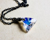 Crystal Triangle Pendant Necklace, Rainbow Swarovski Crystal Necklace on Sterling Silver, Rainbow Prism Geometric Crystal Pendant