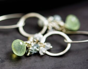 Prehnite Moonstone Gemstone Earrings, Silver Hoop Earrings, Crystal Earrings,