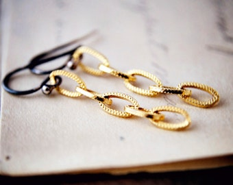 Chain Earrings Two Tone Gold Sterling Silver Dangle