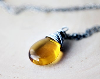 Yellow Glass Necklace, Glass Necklace, Glass Pendant, Wire Wrapped, Czech Glass, Honey Glass, Gold Glass, Sterling Silver, Antiqued