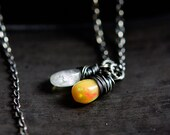 Opal and Moonstone Necklace, Rainbow Moonstone and Ethiopian Opal on Sterling Silver
