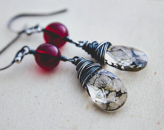 Crystal Earrings, Dangle Earrings, Garnet Earrings, Crystal Earrings, Crystal Jewelry, Bronze Patina, Wire Wrapped, Drop Earrings, PoleStar