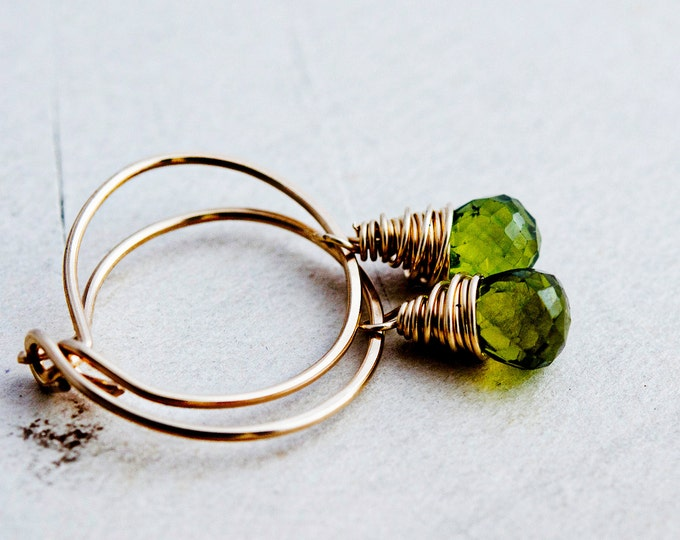 Hoop Earrings, Peridot Earrings, Gold Earrings, August Birthstone, Gold Hoops, Gemstone Earrings, Wire Wrapped, Olive Gemstones, Green