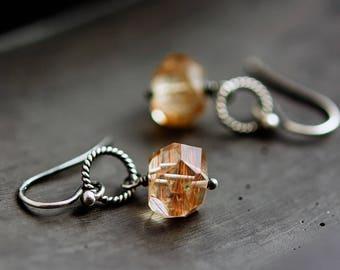 Rutilated Quartz, Rutilated Earrings, Quartz Earrngs, Quartz Drops, Gemstone Jewelry, Sterling Silver,  PoleStar
