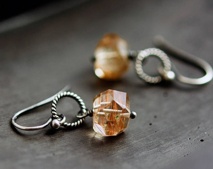 Rutilated Quartz, Rutilated Earrings, Quartz Earrngs, Quartz Drops, Gemstone Jewelry, Sterling Silver,  PoleStar