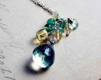 Green Amethyst Gemstone Cluster Pendant Necklace on Sterling Silver
