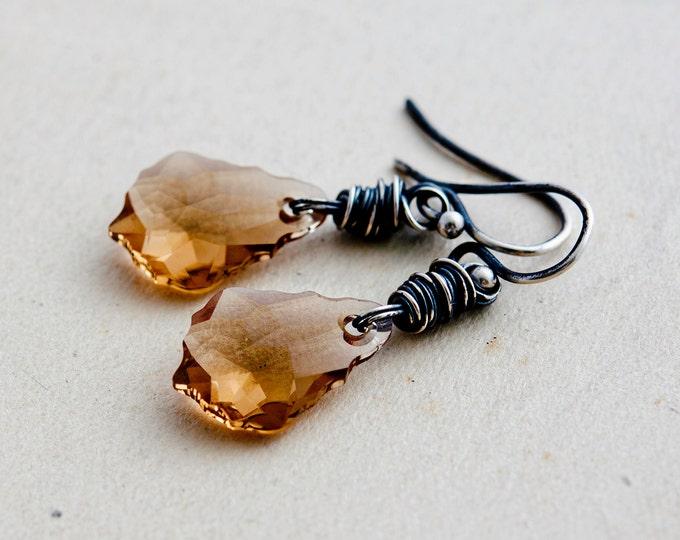 Crystal Earrings, Swarovski Crystal, Dangle Earrings, Topaz Jewelry, Crystal Jewelry, Sterling Silver, November birthstone
