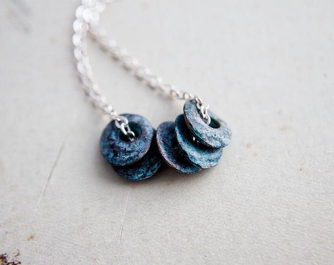 Modern Necklace, Minimal Necklace, Patina Necklace, Patina Disc, Sterling Silver, Mint Green, Mykanos Greek