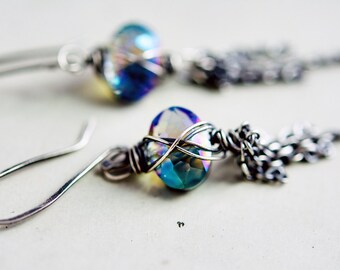 Rustic and Unique Wire Wrapped Glass Oval Earrings, Chain Fringe Dangle Earrings on Fine Silver