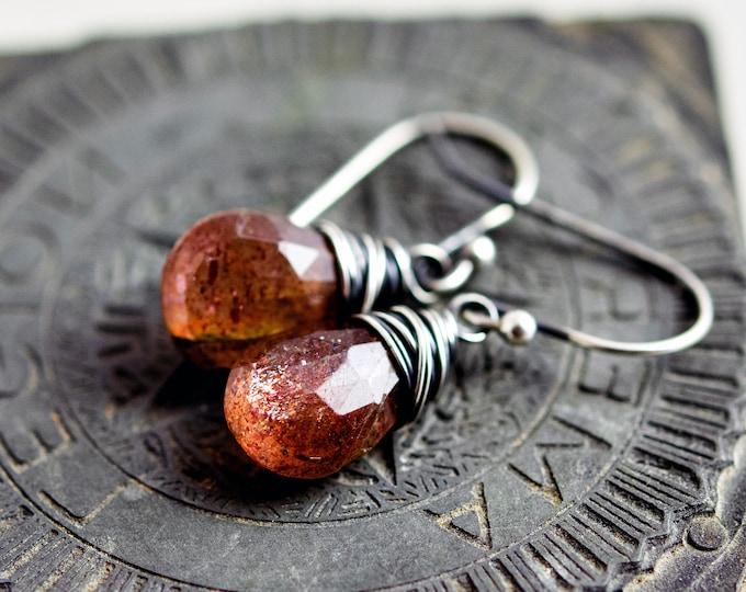 Sunstone Drop Earrings, Schiller Orange Crystal Dangle Earrings on Sterling Silver, Wire Wrapped Crystal Earrings in Orange