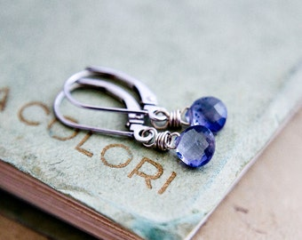 14K White Gold and Purple Iolite Earrings, Iolite Drop Earrings on White Gold