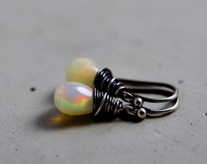 Ethiopian Opal Drop Earrings, October Birthstone Dangle Earrings on Sterling Silver