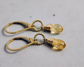 Imperial Topaz Drop Earrings, Golden Crystal Dangle Earrings