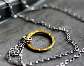 Rustic Brass Circle Necklace Sterling Silver Minimalist Chain