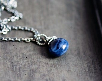 Midnight Blue Opal Necklace, Navy Blue October Birthstone Wire Wrapped on Sterling Silver