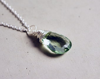 Green Amethyst Necklace, Mint Green Prasiolite Pendant Wire Wrapped on Sterling Silver