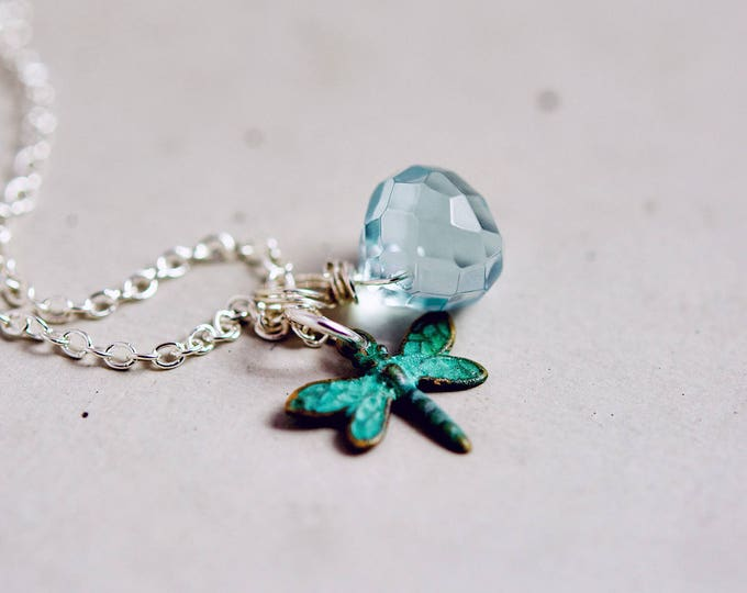 Patina Green Dragonfly Necklace with Aqua Glass Drop on Sterling Silver