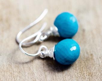 Turquoise Earrings, Dangle Earrings, Turquoise Jewelry, Drop Earrings, Wire Wrapped, December Birthstone, Gemstone Earrings, PoleStar
